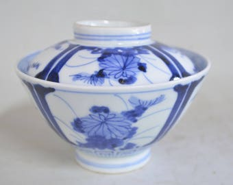 Blue and white bowl 5043, 2 color, lidded soup rice bowl