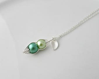 Green Pea Pod Necklace, Pea Pod Necklace, Bridesmaid Necklace, Girl Gifts, UK Seller, Bridesmaid Gift, Sister Gifts, BFF, Two Peas in a Pod