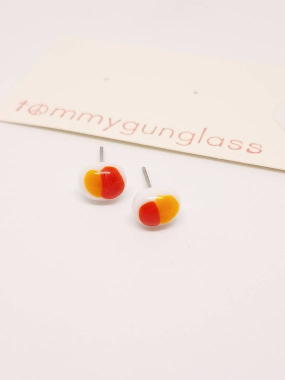 Dainty Red, Orange, and White Earrings