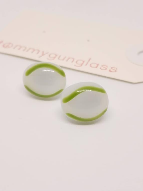 White and Green-Stripe Glass Stud Earrings