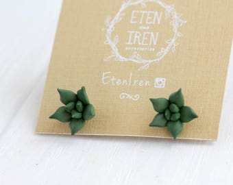 Green Succulent Planter Stud Earrings Wholesale Small Hypoallergenic Studs Succulent Plants Succulent Jewelry Wedding Bridal Birthday Gifts