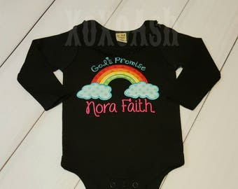 Rainbow Baby God's Promise---Embroidered bodysuit-Shown on Black