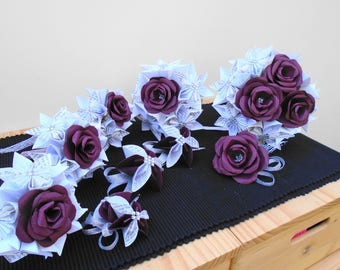 Bespoke Wedding Flower Example to your Requirements, mixed Paper Flowers, Origami and Rose Bouquets, white with Book Pages and burgundy