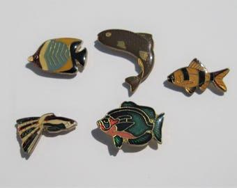 Vintage Enamel Pins: 5 Vintage Fish Pins, Tropical Fish, Sea Life