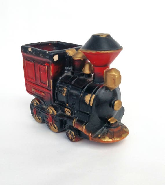 Vintage Enesco Ceramic Train Container Planter Kitschy Kids Decor