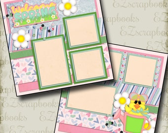 WELCOME SPRING - 2 Premade Scrapbook Pages - EZ Layout 2067