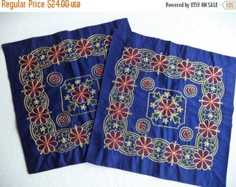 ON SALE Blue and gold pillow covers/ vintage metallic pillow covers/ blue gold burgundy green flowers/ bohemian decor/ set of two boho pillo
