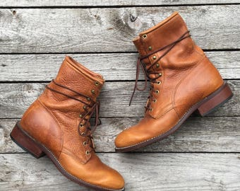 8.5 EE | Men's Brown Lace Up Ropers Ankle Boots by J. Chisholm