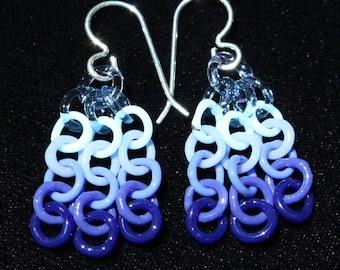 Blue to Purple Glass Chain Earrings
