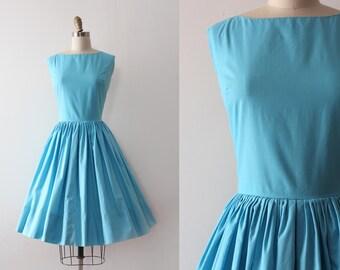 vintage 1960s dress // 60s blue cotton day dress