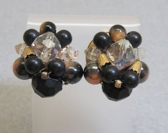 Black and Gold Beaded Clip On Earrings, Plastic Bead Clip On Earrings, Dressy Clip On Earrings