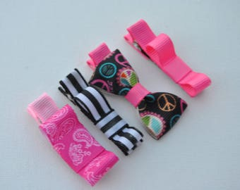 baby hair clips, no slip baby clips, baby barrettes, baby bows, no slip baby bows, toddler hair clips, pink paisley, black and white stripe