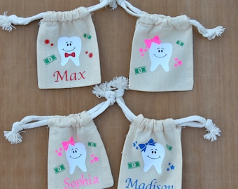 Tooth fairy bag, Personalized tooth fairy pouch, tooth fairy, kids gift, birthday gift, girls tooth fairy pillow, boys tooth fairy pillow