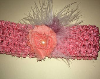 """1.5"""" standard crochet headband with 1.75"""" shabby fabric flowers, and feathers. Coral/ light orange"""