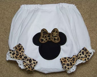 Minnie Mouse Diaper Cover / Disney / Cheetah / Black / 1st Birthady / Bloomer / Panty /  Mickey / Girly / Birthday/ Custom Boutique Clothing