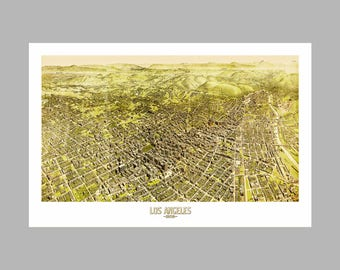 Los Angeles Map - Panoramic - Birds Eye View - Print - Poster