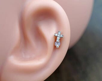 Cross Silver Tragus Earring Piercing 16g