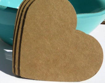 "75 3"" paper hearts - kraft brown hearts - die cut hearts - use for paper banners - favor tags - sale tags"
