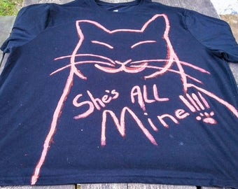 Cat Love T Shirt 2x Black Coral Red She's All Mine I Love My Cat Lover Lady Hand Drawing Wearable Art Kitten Pussycat Kitty