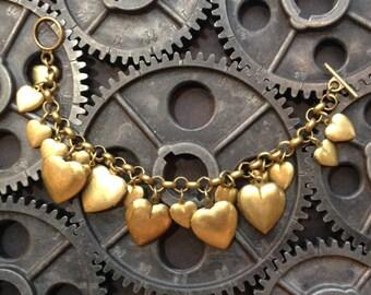 17 Brass Heart Lockets Charm Bracelet