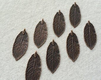 ON SALE 10 x Antique Copper Natural Leaf Pendant Charm Leaves Rustic Copper Necklace Charm Jewelry Making Leaf Charm Rustic Leaf Pendants