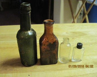 Vintage Antique Miniature LOT OF 4 Assorted Glass Bottle...1920/30's...(#38 charlies)