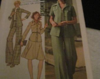 Vintage SIMPLICITY Pattern #7046...sz.10...pantsuit & skirt ...1975....#36....