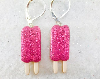 Pink Popsicle Earrings, Summer Dangle Earrings, Glitter Earrings, Summer Food Earring, Button Earrings