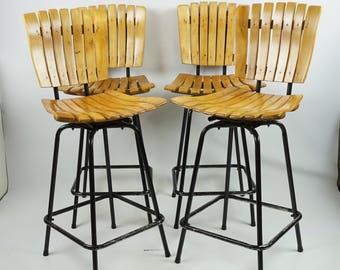 Mid century bar stool set 4 / Vintage  Arthur Umanoff style stool / Vintage wooden bar stools slat seats / Swivel seat bar stool