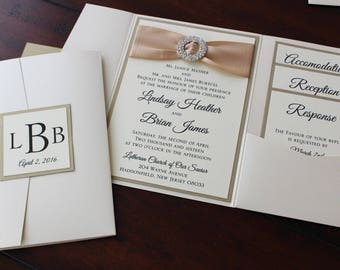 Black, Silver and Magenta Metallic Himalaya Pocketfold Wedding Invitation with Hanging Monogram Label -- Private Listing