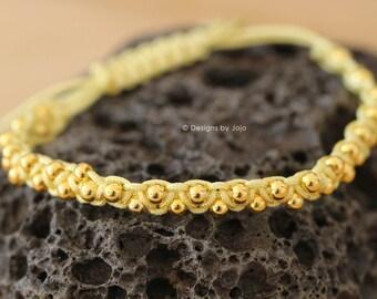 Yellow Beaded Macrame Adjustable Bracelet