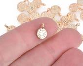 25 Light Gold Drop Charms, 7mm circle, textured, chs3995a