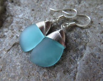 sea glass earrings cultured seaglass blue colored beach glass jewelry  earrings-bridesmaid earrings- teardrop  earrings