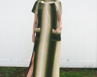 1970's Terry Cloth Green Stripe Lounge Dress with Leg Slit