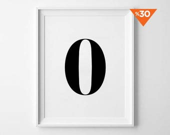 Number Zero Print, Minimalist Poster, Number Wall Decor, Minimalist Art, Typography Design, Inspirational Number, Black and White