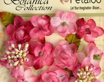 "Small Fushia Pink fabric flowers Mini Petite 1"" Flowers (11 pcs) accent applique flower embellishment 1101-102 flat back"