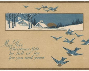 Barn Swallows Flying in Foreground Blue Sky and Snow Covered Countryside Cottage Scene Vintage Postcard Christmas Greeting Card