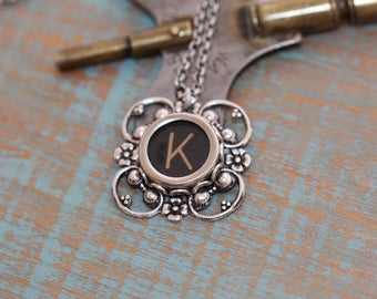 "Typewriter Key Necklace -Typewriter Key Jewelry- Vintage Black Letter ""K""-Typewriter Key Accessory-Typewriter Letter K Pendant-Aged Letter K"