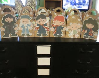 School of Wizardry Inspired Large Gable Favor Boxes with Tags  Set of 12