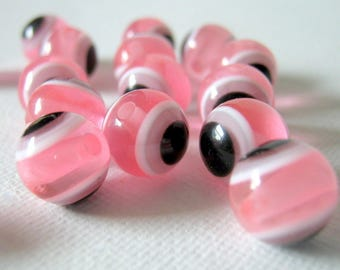 50 Pink Evil Eye Resin Beads-10mm-Jewelry Making Supplies-Beads