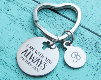 insprational gift for him, spiritual keychain gift for her, addiction recovery gift, 12 step, sober gift, I am with you always Matthew 28:20