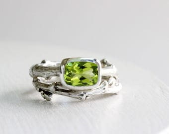 Peridot Engagement Ring Set, Silver Twig Rings, 8 x 6mm Rectangular Natural Peridot