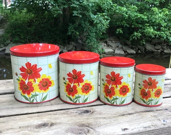 Gorgeous Vintage Nesco 1951 Nesting Tin Canisters / Vintage Mid Century Floral Canisters / Ton Canister Set of 4
