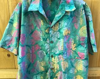 Vintage Floral Batik Cotton Button Up Shirt / Colorful Leaves Batik Unisex Beach Resort Shirt