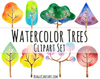 Watercolor Trees Clipart, Tree Clipart, Instant Download, Nature Clipart, Printable Sticker, Handpainted Clipart, Watercolor Clipart, PNG