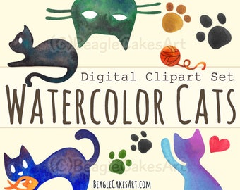 Cats Clipart, Animal Clipart, Cat Silhouette Clipart, Watercolor Cat Clipart, Digital Watercolor Art, Watercolor Clipart, Digital Scrapbook