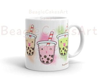 Bubble Tea Mug, Coffee Mug, Boba Tea Mug, Kawaii Art Mug, Birthday Gift, Thank You Gift, Kitchen Decor, Cute Mug, Drinkware, Gift for Her