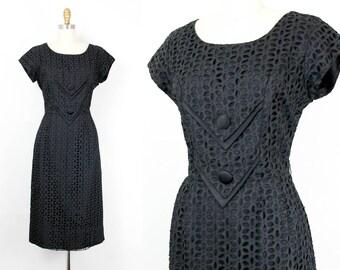 Vintage 1950s dress . A Wink and a Nod . 1950s black eyelet wiggle dress . 50s hourglass dress . md