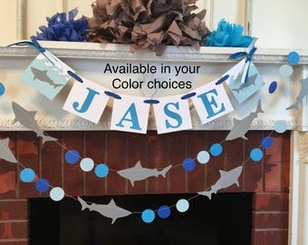 Shark Birthday decorations - Shark Birthday Banner- Shark Baby shower Decor- Shark Childrens Name banner- 1st birthday- your color choices