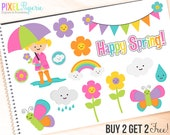 spring clipart clip art rain rainbow flowers butterfly - Happy Spring Clipart - BUY 2 GET 2 FREE